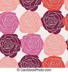 Cute seamless pattern with roses on a white background