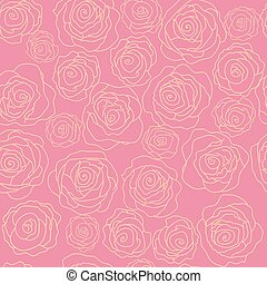 Cute seamless pattern with roses on a pink background