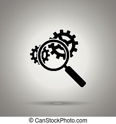 inspection icon. Magnifier and two gears . Seo symbol