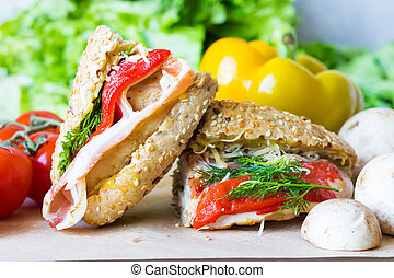 Two sandwiches for a quick snack - Sandwich with chicken on...