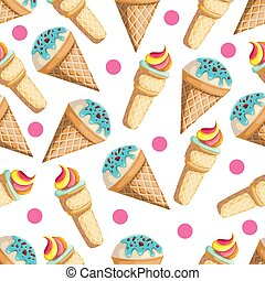Seamless pattern with ice-cream