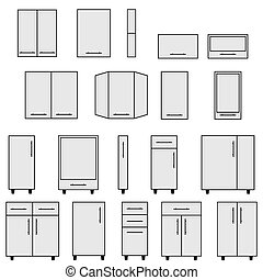 Sample of Modular kitchen objects. - Sample of typical...