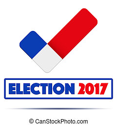 Symbol of Election 2017 in France. Check mark symbol in the...