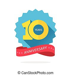 10 years anniversary logo template with shadow on blue color...