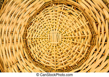 Wicker basket weave pattern - Close up of braided basket...
