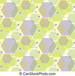 concept modern geometry hexagone pattern in green and violet color. geometric seamless pattern in digital style for wrapping paper, fabric, background