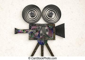 Swirly movie camera - 3D illustration of paper swirl movie...