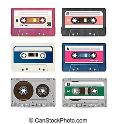 Retro Audio Cassette Vector. Collection Of Different Colorful Music Tapes. Isolated On White Background.