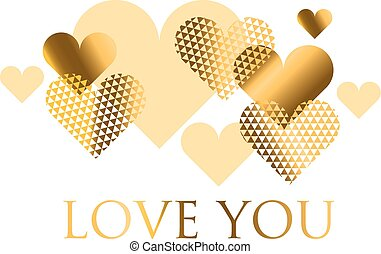 Vector illustration for holiday design. Many gold and black hearts on white background. Header For wedding card, valentine day greetings, lovely frame.