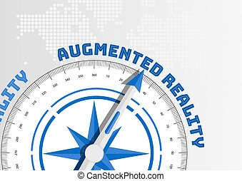 Compass pointing towards text Augmented Reality