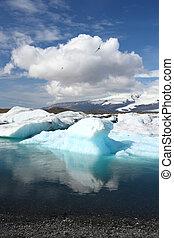 Iceland - Iceberg on Jokulsarlon lagoon in Iceland. Famous...