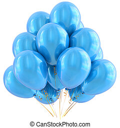 Blue party balloons happy birthday decoration cyan glossy