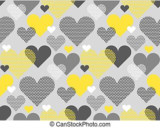 Gray and yellow color love concept icon repeatable motif for wrapping paper or fabric. Heart shape modern seamless pattern vector illustration in geometry style.