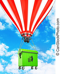 dumpster flying in a hot air balloon in the sky. Eco. 3D...