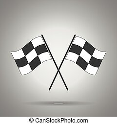racing flag icon . Crossed racing flags . rush