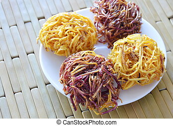candy bird nest Thai snack made of fried yam