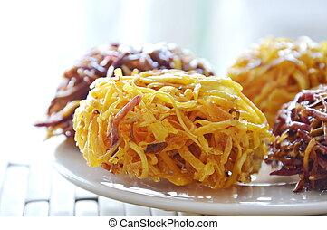 candy bird nest Thai dessert made of fried sweet potato
