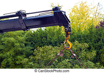 Mobile crane - Detail of a mobile crane at a construction...