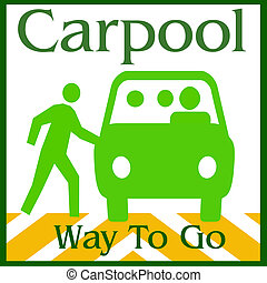 carpool way - green van and people on white background...