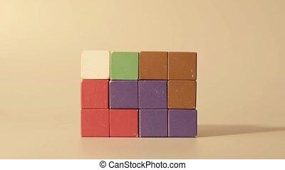 Man's hand 3D tetris - Man's hand dismantling 3D tetris...