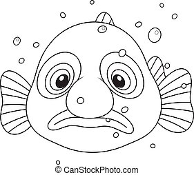 Blob fish - Black and white vector illustration of an exotic...