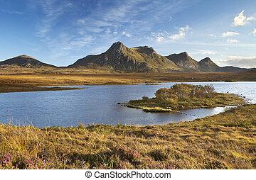 Scottish Highlands, lake and mountains of Ben Loyal,...