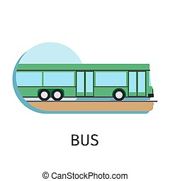 Vector bus in flat style with sign on white background