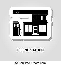 Filling station black building sticker - Filling station...