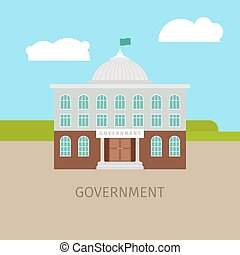 Colored urban government building with sing, vector...