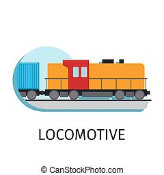 Locomotive in flat style - Vector locomotive in flat style...