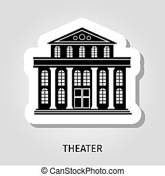 Theater black building sticker - Theater black building...