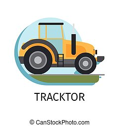 Tracktor in flat style - Vector tracktor in flat style with...
