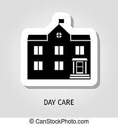 Day care black building sticker - Day care building vector...