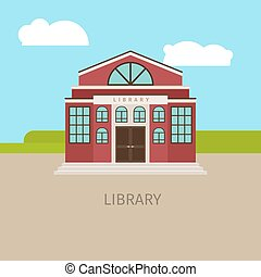 Colored urban municipal library building with sing. Vector...