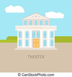 Colored urban theater building with sky and clouds. Vector...