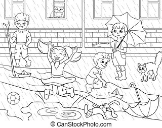 Kids coloring vector children playing in rainy weather...