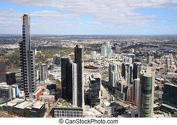 Melbourne - Aerial view of Melbourne and Yarra River The...