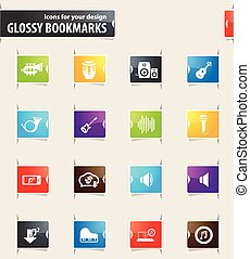 Music Bookmark Icons - Music vector bookmark icons for your...