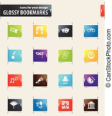 Theater Bookmark Icons - Theater vector bookmark icons for...
