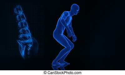 Painful human spine - Male human with pain in spine concept...
