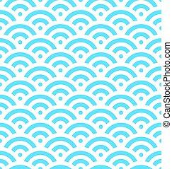 Blue fish scale background of concentric circles. Abstract...