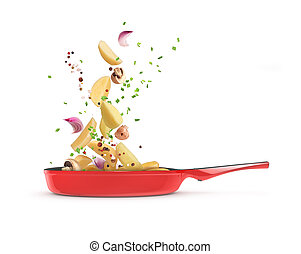 vegetables in a frying pan on a white background