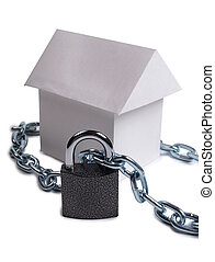 House and padlock one - Paper model house and padlock on...