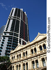 Brisbane, Australia. Modern skyscraper and old architecture.
