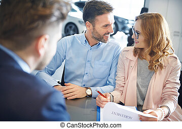 Front view of couple in the car dealership