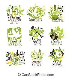 Medical Ganja Colorful Graphic Design Template Logo...