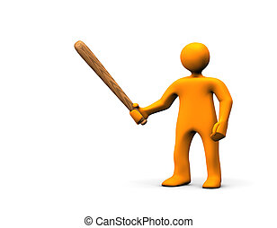 Rowdy - Orange cartoon rowdy with a baseball bat in the hand...