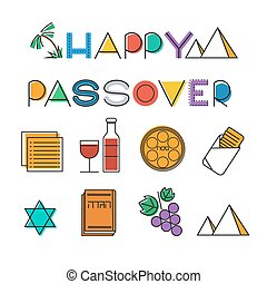 Passover icon set. Design elements collection. Jewish...
