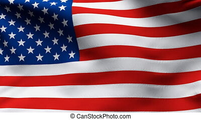 UNITED STATES Flag in wind in slow - Creased cotton flag...