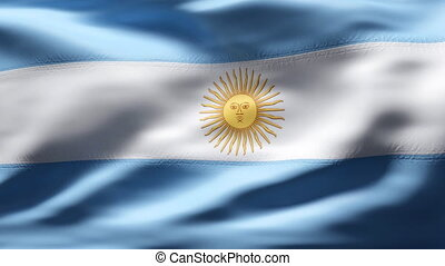 ARGENTINA Flag in slow motion - Creased cotton flag with...